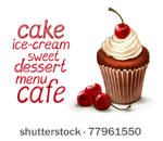Cupcake with cherry and dessert text by Sundra, via Shutterstock