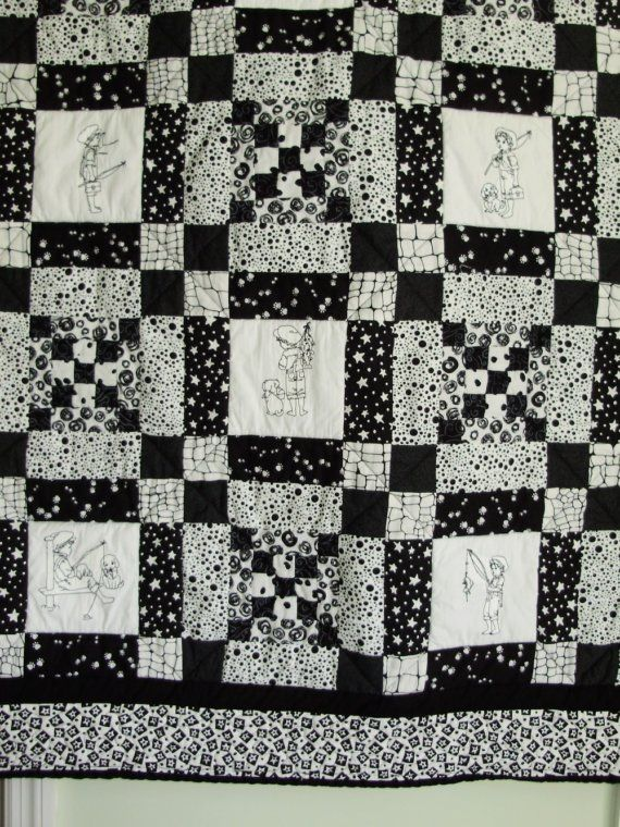 Boys patchwork and embroidered black and white quilt - fishing theme