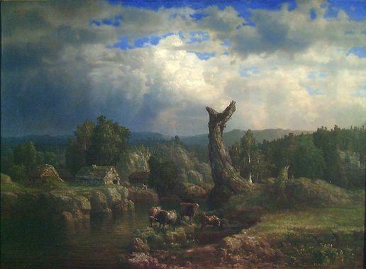 """Lars Hertervig """"Sommerlandskap i tordenvær"""" 1856"""