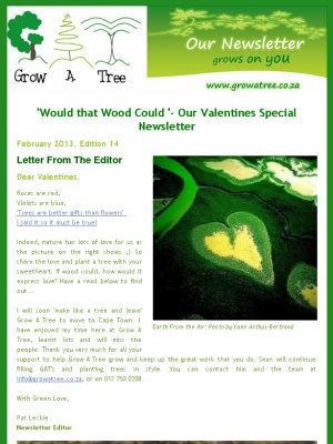'Would that Wood Could '- Our Valentines Special Newsletter, Edition 14. February 2013