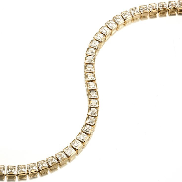 18ct Yellow Gold Layered Tennis Bracelet made with Swarovski® Crystals (7Inch) | Allure Gold