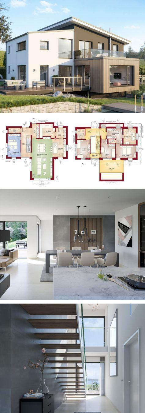 Versetztes Pultdach Haus modern mit Galerie & Büro Anbau – Einfamilienhaus baue