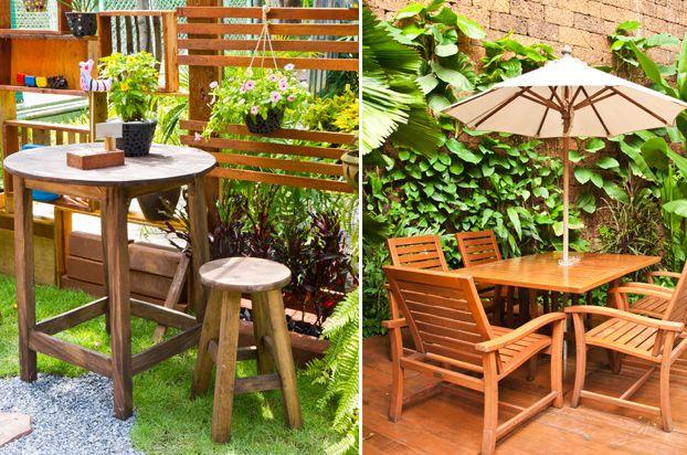 Decora o de jardim rea externa m veis de madeira for Mobiliario de patio