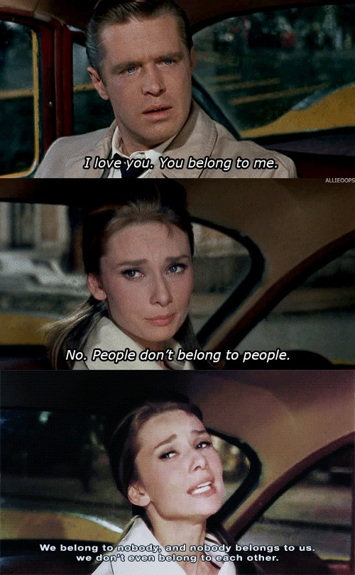 """We belong to nobody,"" from Breakfast at Tiffany's. This is one of my favorite scenes, perhaps ever. Breakfast at Tiffany's, (1961) dir. Blake Edwards"