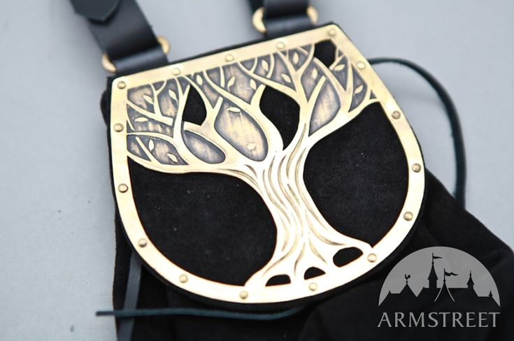 Fantasy Medieval Style Suede and Etched Brass Bag