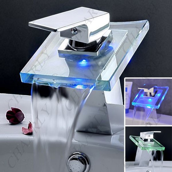 E Joy Modern Single Handle Waterfall Led Faucet Lavatory Vessel Bathroom Sink Tap Color Changing Temperature Sensitive