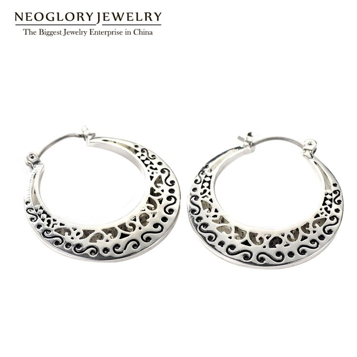 >> Click to Buy << Neoglory Classic Vintage Hoop Earrings Allergy-free Antique Silver Plated for Women Fashion  Jewelry 2017 New Gifts FA #Affiliate