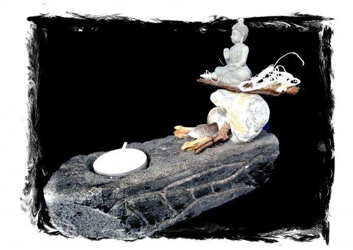 theelicht / wierookhouder gemaakt van y-ton, potpourri, schors, steen en Boeddha beeldje