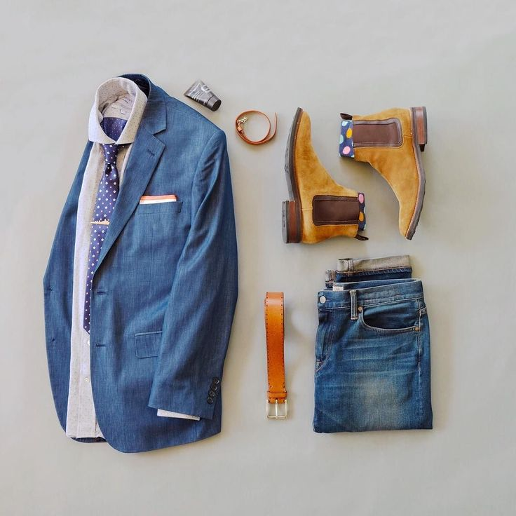 My business casual take on double denim. I'm going to call this combo 'Abandon Ship'. The accent color in today's combo is orange which can be a tough color to wear. Who else has trouble wearing or even liking orange combos? Chelsea Boots: @thursdayboots Italian Leather Belt: @martindingman1990 Selvedge Denim: @katobrand Wrist Wrap: @martindingman1990 Essentials: @everymanjack via @victory_box Socks: @victory_box Pocket Square: @getdeclan Tie Bar: @lookgreatwl Shirt: @ledburyshirts T