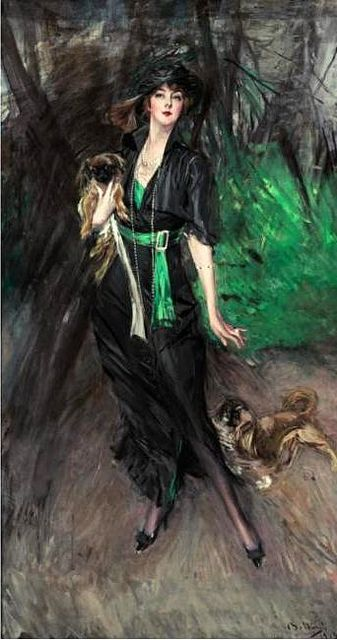 1913 Portrait of Lina Bilitis with Two Pekinese (Sotheby's New York, 2005)