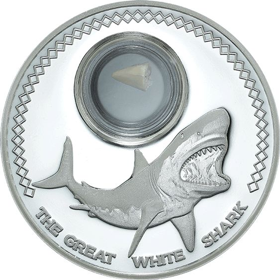 Great White Shark with inset fossil tooth! 1oz Pure Silver. Tokelau Legal Tender Mintage 1000. www.treasuresofoz.com.au