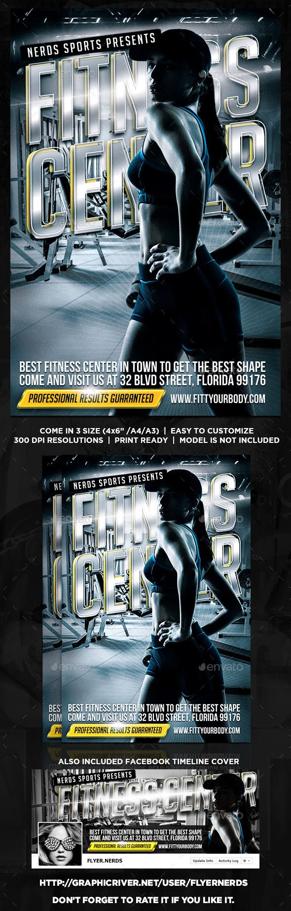 """Fitness Center Flyer by flyernerds Fitness Center Flyer Description :Come in 3 Size : 4x6"""" / A4 / A3 with bleedAlso included Facebook Timeline (as shown at preview i"""
