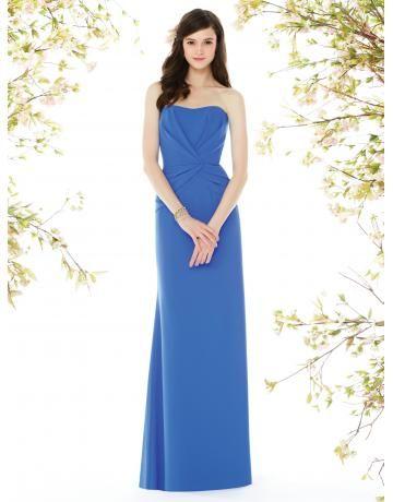Robe de demoiselle d'honneur bleu satin fourreau