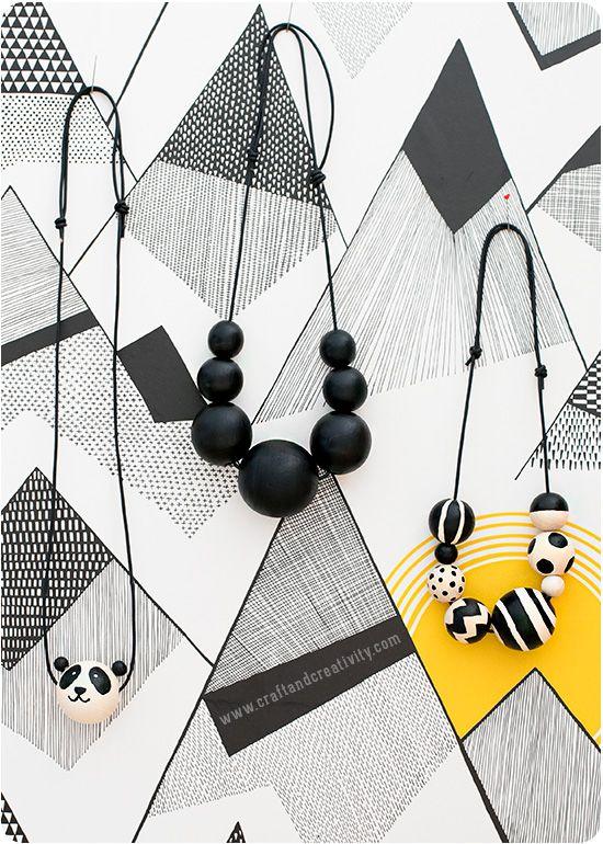 Halsband med målade träpärlor Painted wooden bead necklace | Craft & Creativity | Bloglovin'