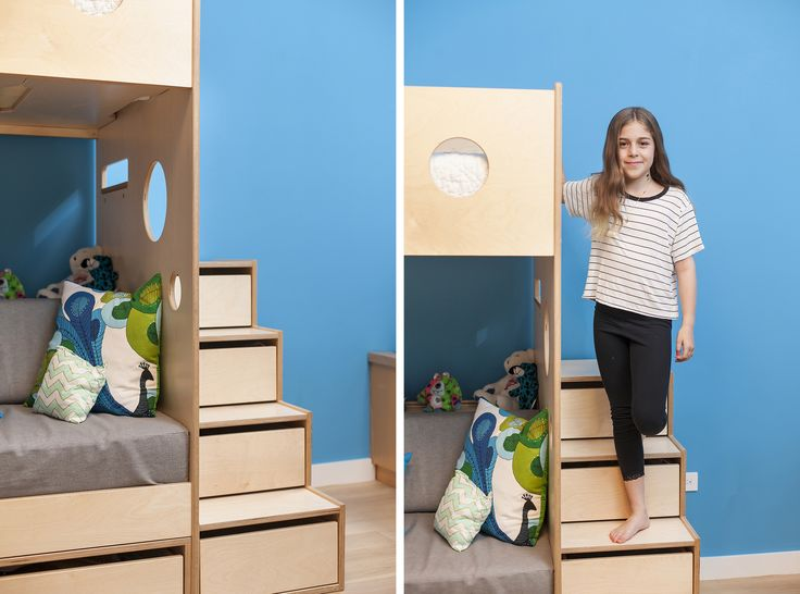 When space allows, we always suggest adding stairs to our loft beds as a functional dresser. These stairs feature four drawers at varying depths and slotted pulls that help avoid pinched fingers. #Casakids #customchildrenfurniture #KidsFurniture