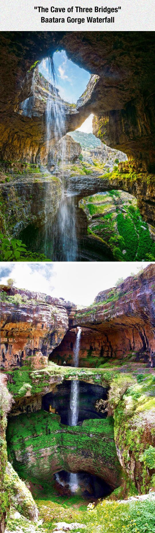 "The Baatara gorge waterfall (also known as the ""Cave of the Three Bridges"") in Tannourine, Lebanon. The waterfall drops 255 metres (837 ft) into the Baatara Pothole, a cave of Jurassic limestone located on the Lebanon Mountain Trail."