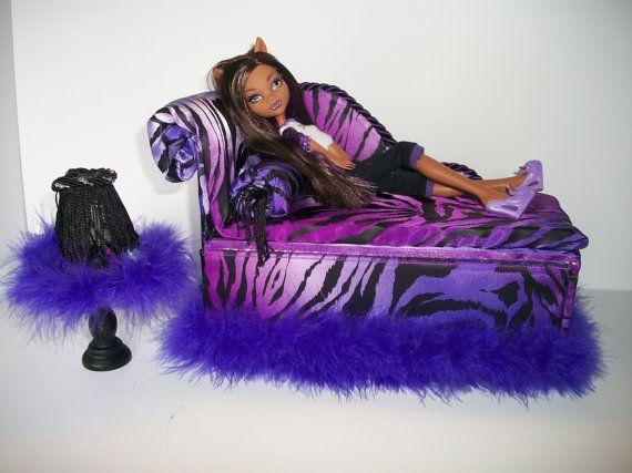 Monster High Homemade Furniture | Furniture for Monster High Dolls Handmade Chaise Lounge Bed for ...