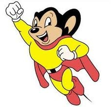 """Here I come to save the day!"" Before Andy Kaufman lip-synched Mighty Mouse's theme on Saturday Night Live, Mighty Mouse had been through many incarnations. Part mouse, part superhero, Mighty Mouse kept Mouseville safe from a variety of cat villains. Mighty Mouse was originally named Super Mouse, when he made his debut in the Mouse of Tomorrow in 1942."