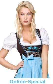 Traditional german mid length dirndl 3pcs. Nida turquoise 60cm