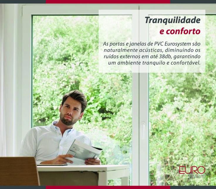 As portas e janelas de PVC Eurosystem são naturalmente acústicas, diminuindo os ruídos externos em até 38db, garantindo um ambiente tranquilo e confortável.   Esquadrias Eurosystem, soluções inteligentes para seu projeto. #Eurosystem #SoluçõesInteligentesParaSeuProjeto #EsquadriasdePvc #PorqueSeuProjetoMereceoMelhor