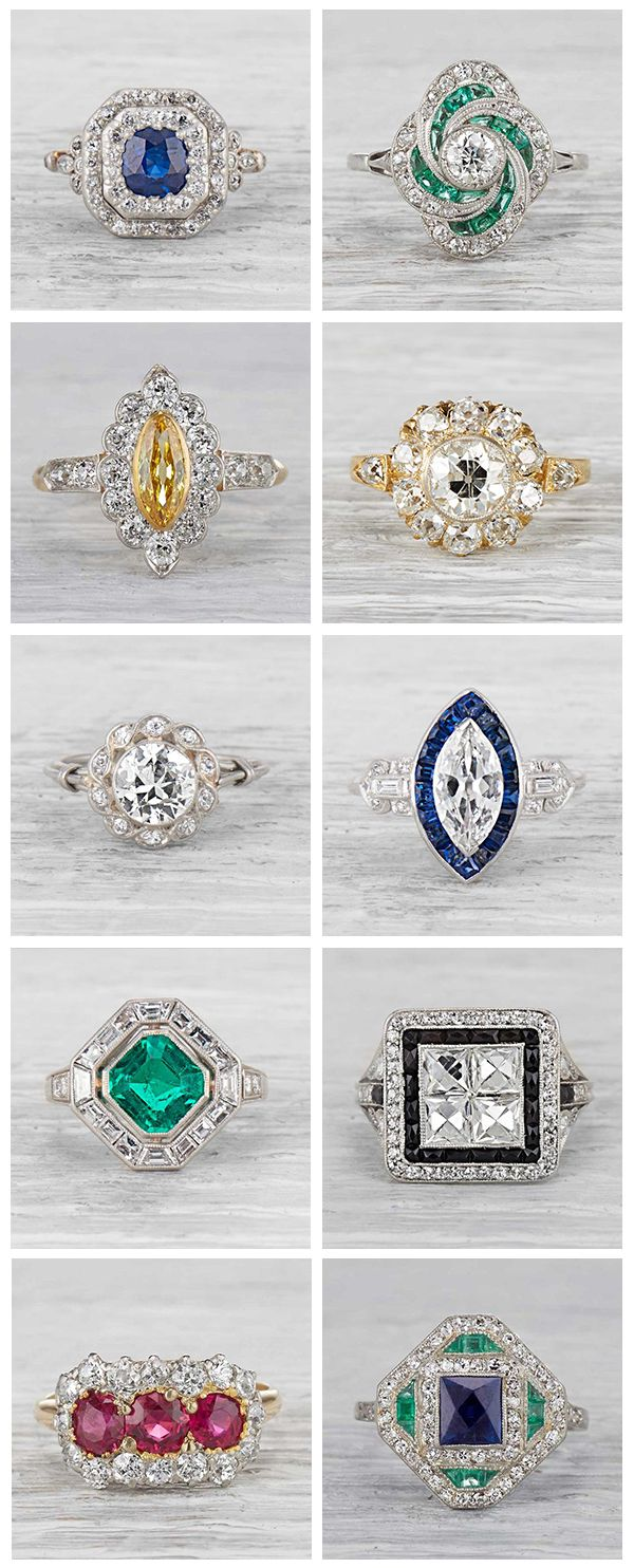 Diamonds or other gemstones framing a center stone with a nestled or huddled appearance.