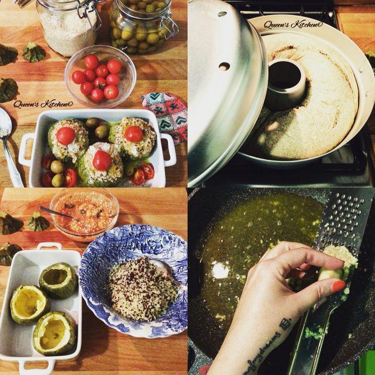 Oggi ho inaugurato la mia pentola fornetto con una bella ciambella di pane integrale, adoro il profumo del pane preparato a casa, ho riempito le zucchine tonde cotte al vapore con #quinoa e crema di zucchine e pomodoro al basilico, le farò gratinare in forno, ho grattugiato lo #zenzero e spremuto le arance per cuocere i miei bocconcini di pollo e voi state preparando il #pranzodelladomenica?❤️ [blog http:www.queenskitchen.it ] [follow Queen's Kitchen on FB http://on.fb.me/1gq3DMB ]