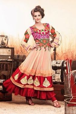 G_7001   Semi stitch Anarkali suit   Dress fabric: Georgette   Lining: Red satin fabric   Churidaar: Satin   Measurement: up to 38 inches (bust size)