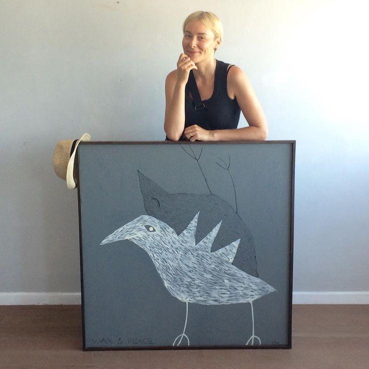 """Pradžia... Prieš gerus 12 metú pradėjau piešti paukščius,  nutūpusius ir ant #Yurga papuošalú. Paveikslas """"War & Peace"""". Beginning... Maybe 12 years ago I used to paint birds, later they landed on my jewelry... Picture """"War & Peace""""."""