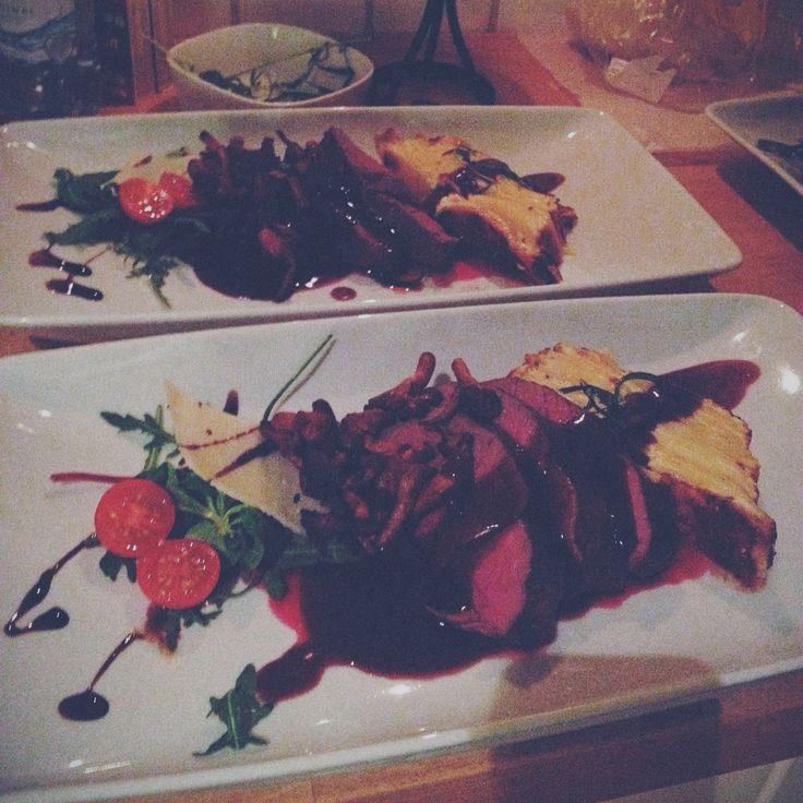 Steak redwine sauce rosemary potatocake parmesan chanterelles
