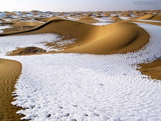 Taklamakan is one of the largest sandy deserts in the world, ranking 15th in size in a ranking of the world's largest non-polar deserts.   In 2008, China's biggest desert experienced its biggest snowfall and lowest temperature after 11 consecutive days of snow. Snow is rare in the desert that covered 337,600 sq km (130 sq mi), never before had the whole desert been covered. Source - http://ritemail.blogspot.com/2012/01/9-unusual-deserts.html#: Desserts, Sands, Desert, The Desert, Snow, Amazing Places, Travel, Natural, China