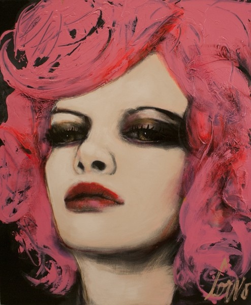 Face with pink hair JOHANNE CORNO Mixed Media