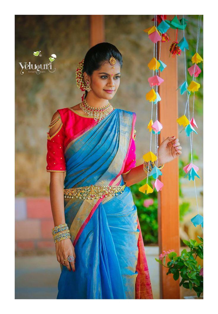 Blue and magenta saree - 1