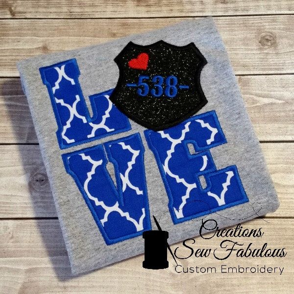 Police Love Shirt - Personalized Police Love Shirt - Police Wife, Applique, Embroidery, Shirt, Police Dad, I Love My Police Officer, Wifey by CreationsSewFabulous on Etsy https://www.etsy.com/listing/235263981/police-love-shirt-personalized-police