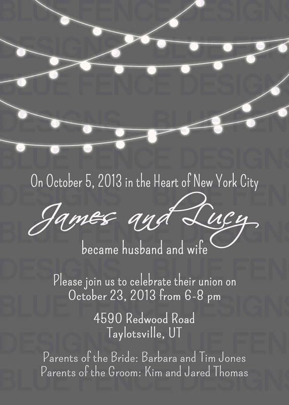 string lights wedding invitation simple gray and white wedding