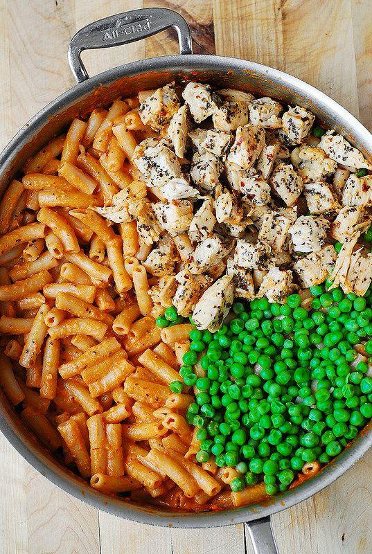 Spicy Garlic Chicken Penne with Peas