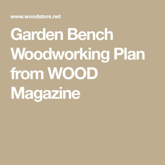 Garden Bench Woodworking Plan from WOOD Magazine