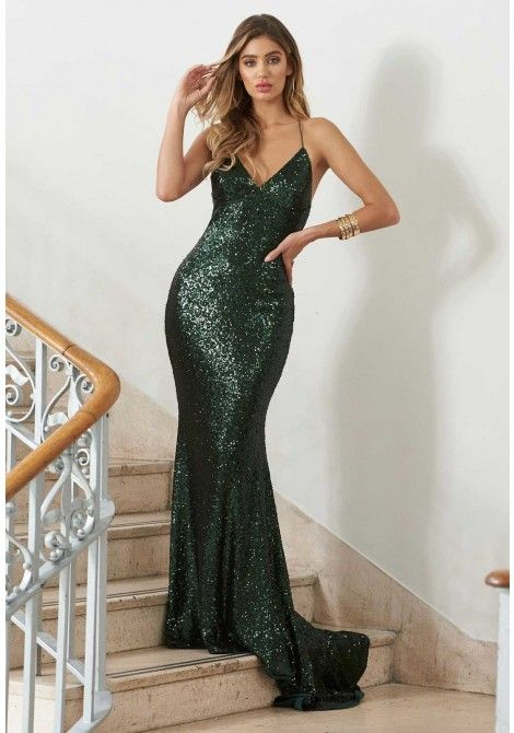 a3f72a4b7be6 Club L London Green Sequin Cross Back Fishtail Maxi Dress - Evening dresses  - Occasions