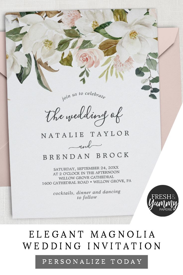 Elegant Magnolia White And Blush The Wedding Of Invitation