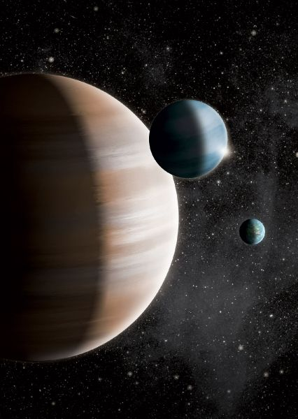 "Neapolitan Exoplanets Come in Three Flavors - New research finds that exoplanets can be divided into three groups – terrestrials, gas giants, and mid-sized ""gas dwarfs"" – based on how their host stars tend to fall into three distinct groups defined by their compositions. All three are portrayed in this artist's conception. Credit: J. Jauch 