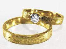 Eheringe SET Diamant Gelbgold mit Gravur TRAU DICH