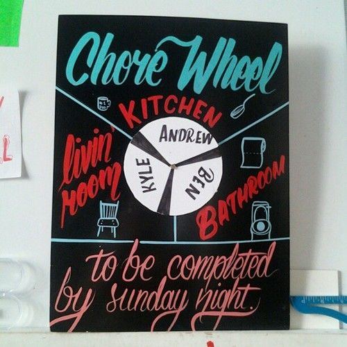 Cute presentation of the otherwise shitty, dreaded chore wheel