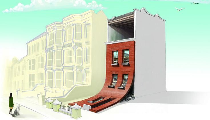O casă ca după cutremur. Mai multe detalii: http://cemerita.ro/eu-as-locui-intr-o-astfel-de-casa/