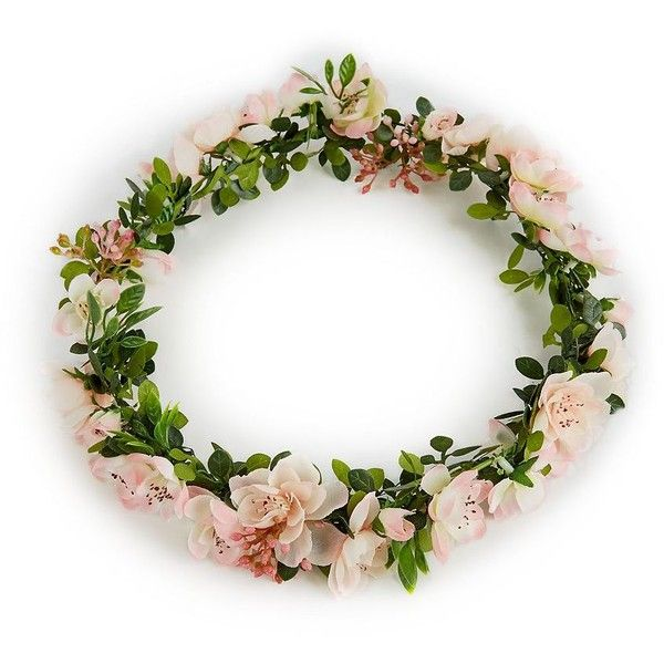 Pink Flower Hair Garland ($11) ❤ liked on Polyvore featuring floral crown, floral hair accessories, pink garland, flower crown and pink hair accessories