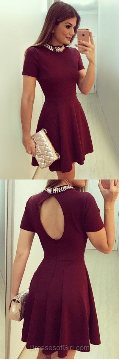 Mini Prom Dress, Satin Prom Dresses, Burgundy Homecoming Dress, Short Sleeve Homecoming Dresses,Open Back Cocktail Dress
