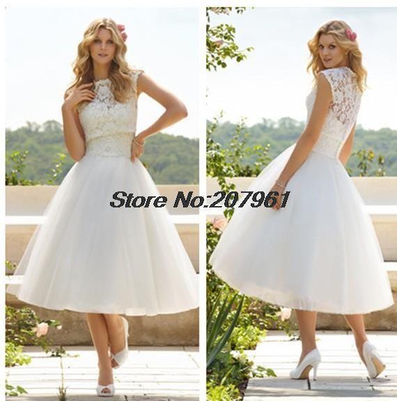 2016 vestido де noiva курто белый & Ivory A-Line тюль с кружевом Свадебные Платья лодыжки Длина Свадебные Платья 2016 новый Прибывший SW020