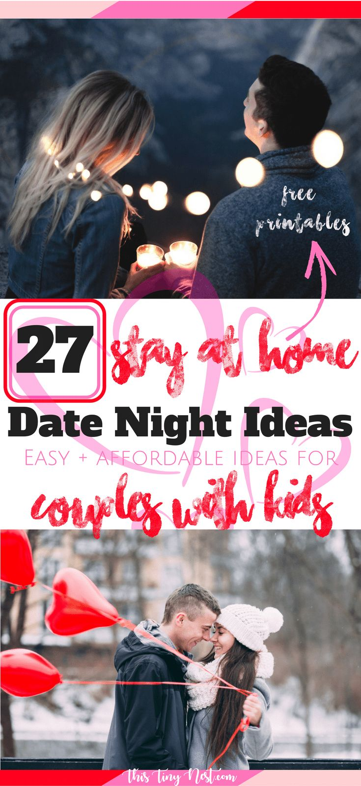 27 Stay-At-Home Date Night Ideas For Couples With Kids (Easy + Afforable!) #datenight #valentinesdaydate #datenightideas #cheapdateideas #datenightin #datenightathome #stayathome #coupleswithkids