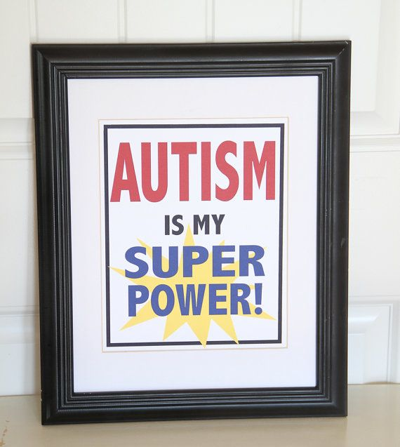 This is fabulous!!   I have a super hero that would love this!!  Autism Art - Wall Art  Print - 8x10 - Autism is my Super Power - Children wall art