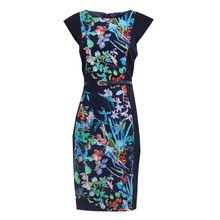 Zapara Navy Cap Sleeve Flower Print Dress