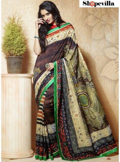 Brown Bangalore Silk Fancy Printed Saree-607