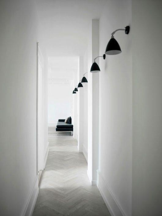 lindas iluminaciones para pasillos, y hall  Hallway. White. Long. Lighting. Design. Decor. Minimalist.